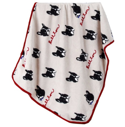 Cosy Pet Fleece Plaid Black Dogs - Beige 100x75cm