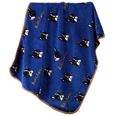 Cosy Pet Fleece Plaid Black Dogs - Navy Blue 100x75cm