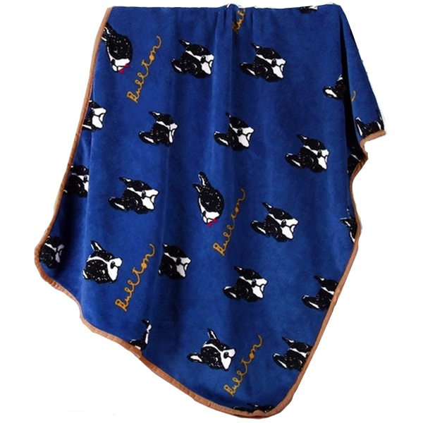 Cosy Pet Fleece Plaid Black Dogs - Navy Blue 100x75cm