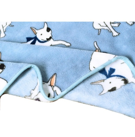 Cosy Pet Fleece Plaid White Dogs - Light Blue 100x75cm