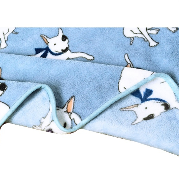 Cosy Pet Fleece Plaid White Dogs - Light Blue 100x75cm