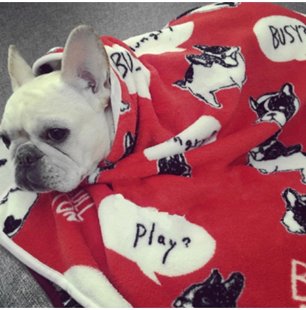 Cosy Pet Fleece Plaid White Dogs - Red 100x75cm