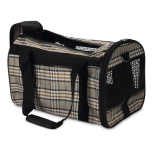 Travel Bag for Flight and Car - Beige Checked 40x26x26 cm