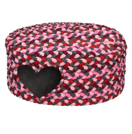 Oval Pet Basket - Pink/Grey 48x42x22cm