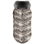 Coat  Moonlight with Fur Collar and Cosy Fleece Lining - Gold