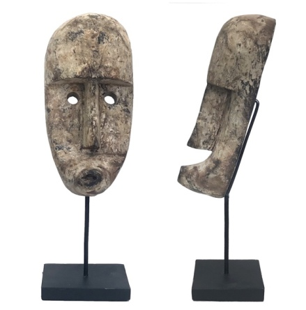 Wooden Mask Antique Style on Stand - Brown H:38,5 W:12,5cm