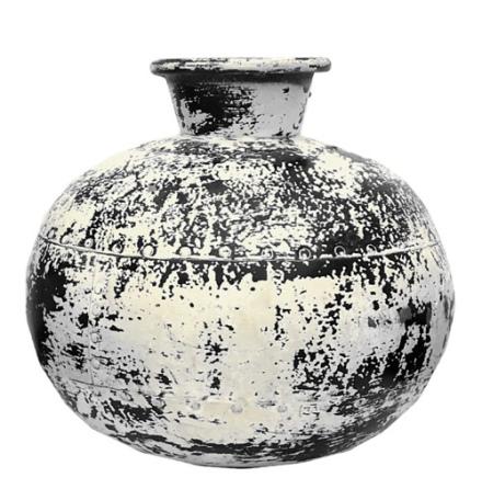 Iron Aged Pot - Black/Off White Height:29cm Width:33cm