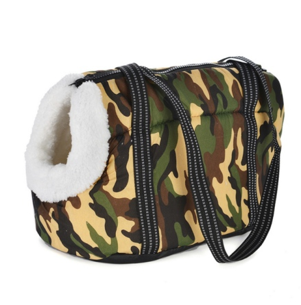 Light Pet Canvas Bag w White Fur Inside - Camo