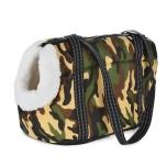 Light Pet Canvas Bag w White Fur Inside - Camo
