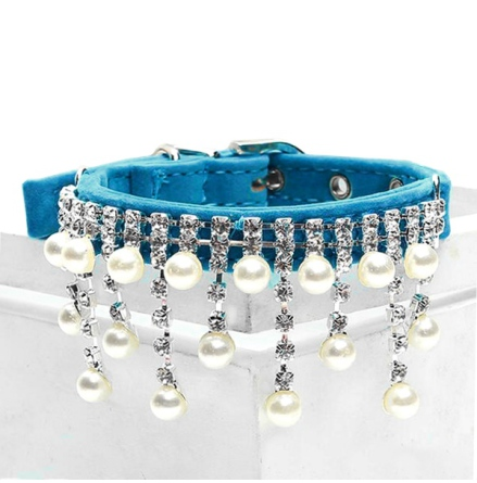 Pearls and Stones Velvet Collar - Blue