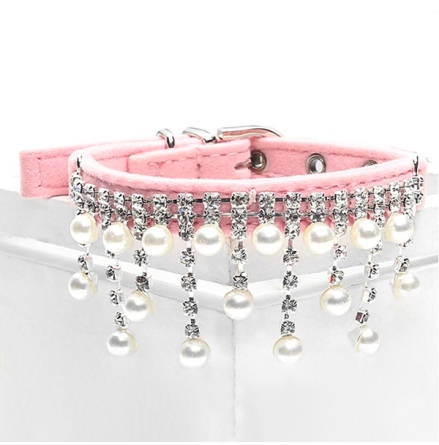 Pearls and Stones Velvet Collar - Pink