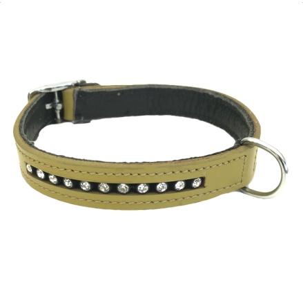 Leather Collar w. Rhinestones - Funky Green  L:32-38cm Tot:42cm