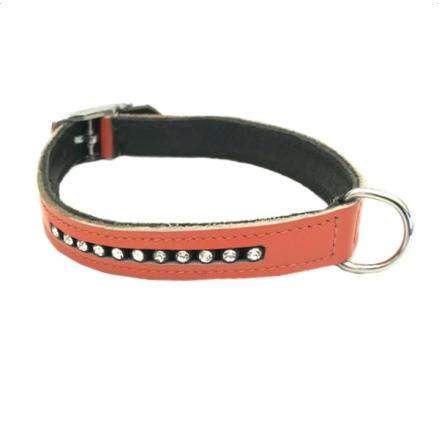 Leather Collar w. Rhinestones - Orange