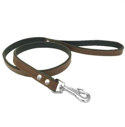 Leather Leash w Big Buckle - Black/Brown L:120 W:20cm