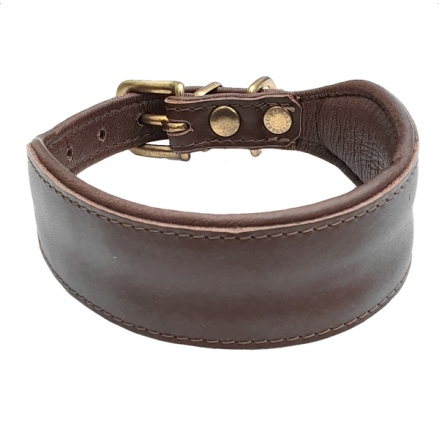 Nordic Elk Leather Collar Whippet/Greyh Brass - Brown