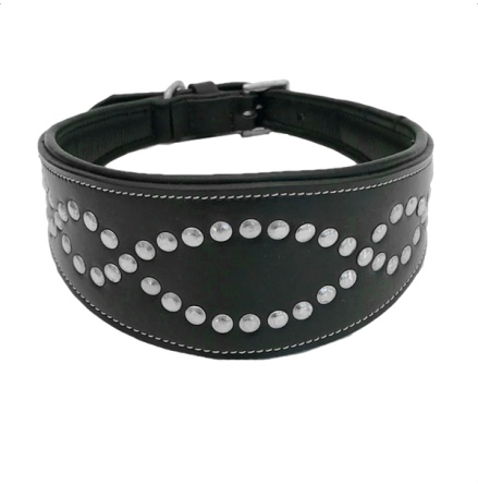 Wide Decoraded Black Leather Collar