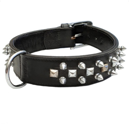 Cool Leather Collar w. Spikes - Black