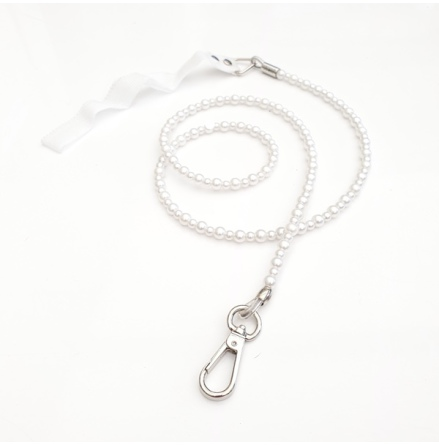 Pet Beaded Leash - White