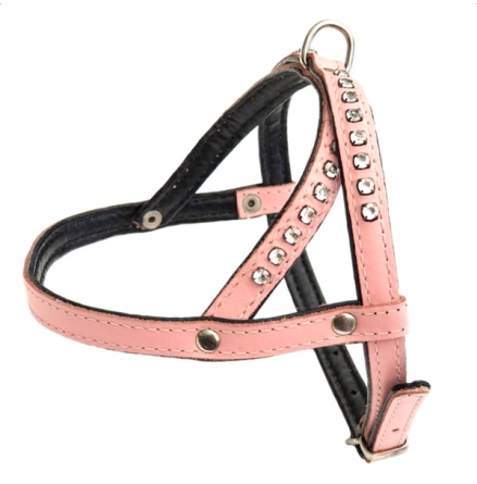 Leather Harness - Baby pink