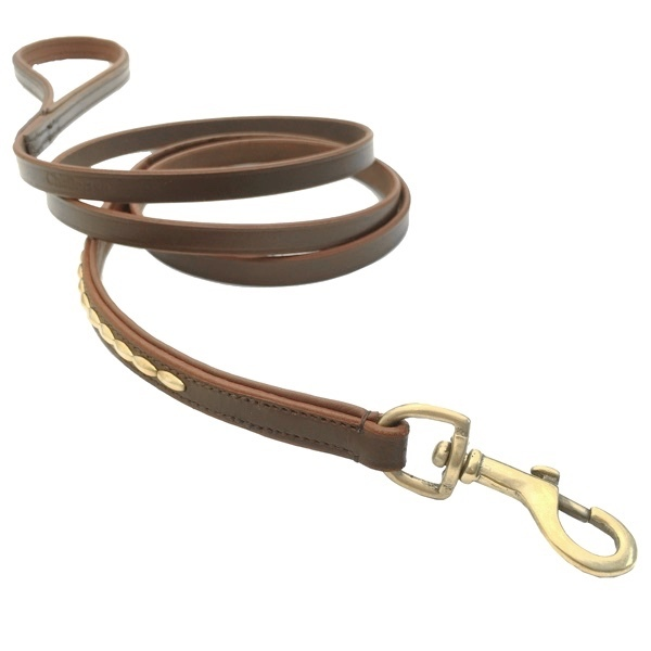 Brooklyn Leather Leash Flat w Soft Studs Brass - Brown L:185cm W:13mm