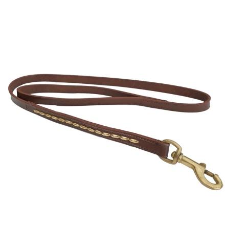Brooklyn Leather Leash Flat w Soft Studs Brass - Brown