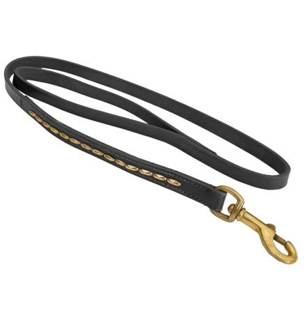 Brooklyn Leather Leash Flat w Soft Studs Brass - Black