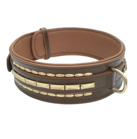 Brooklyn Wide Leather Collar Brass w Soft Studs