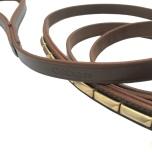 Brooklyn Leather Leash Flat w Soft Studs Brass - Big Studs- Brown