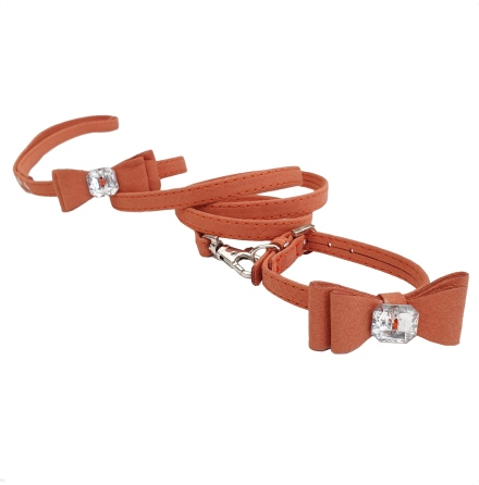Collar/Leash set w Bow - Terracotta