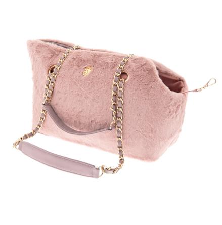 Harper Fur Pet Bag with Mini Purse - Pink 38x28x20cm