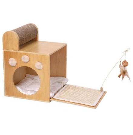 Wooden Cat Play/Scratch Box - Beige 58x30x42cm