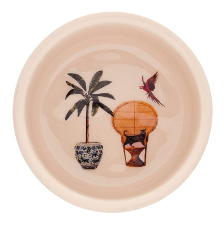 Glazed Steel Cat Bowl - Beige  Diam: 12,5cm Hight: 6cm