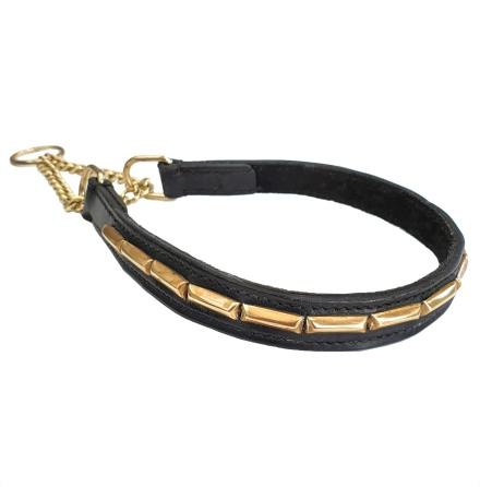 Brooklyn Leather Half Check Brass w Soft Big Studs - Black