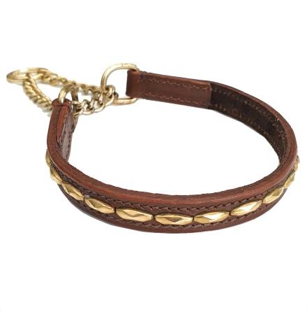 Brooklyn Leather Half Check Brass w Soft Studs - Brown