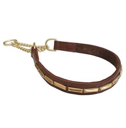 Brooklyn Leather Half Check Brass w Soft Big Studs - Brown