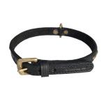Brooklyn Leather Collar Brass w Small Studs - Black