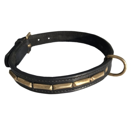 Brooklyn Leather Collar Brass w Large Studs - Black