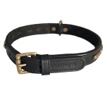 Brooklyn Leather Collar Brass w Large Studs - Black