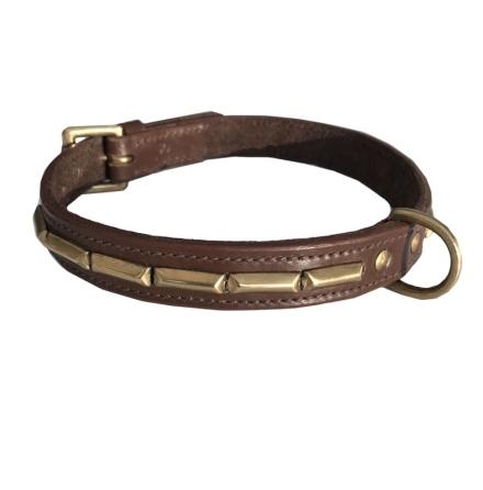 Brooklyn Leather Collar Brass w Large Studs - Brown