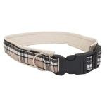 Adjust. Leather Collar Checked Beige