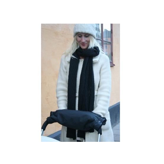 Black fur Stroller Hand Warmer w black lining 45x45cm