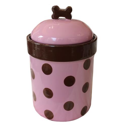 Food/Snack Porcelain Jar - Pink Dots H:21cm