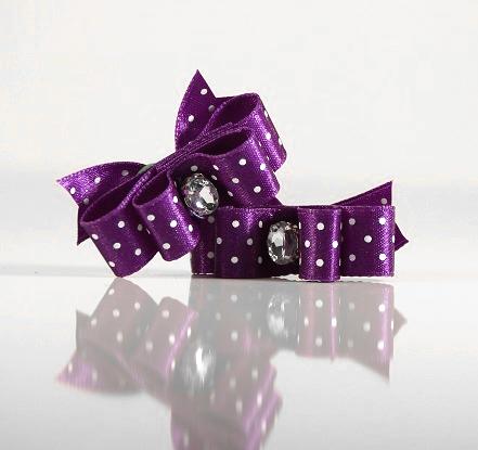 2 Bows Purple w.White dots